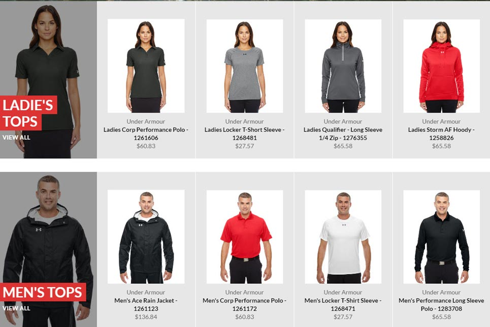 Online stores for uniforms and teamwear
